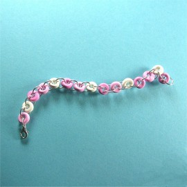 P206 Pink and white chain bracelet