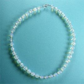 S193 Blue opal facetted bead necklace