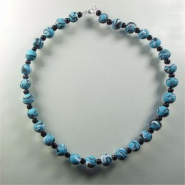 S238 Black white and blue swirl necklace