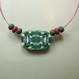 S255 black white and green quartered pendant