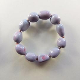 P285 faux pebble and copper bead bracelet