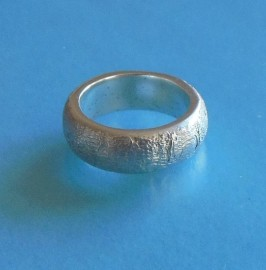 S298 sterling silver clay textured ring