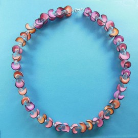 S302 pink and orange folded disc necklace