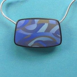 S304 blue and gold rectangular pendant