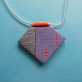 S309 red blue and silver geometric design pendant
