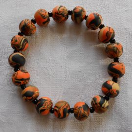 P290 orange and black stretchy bracelet