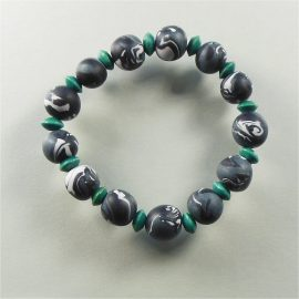 P256 grey black and turquoise stretchy bracelet