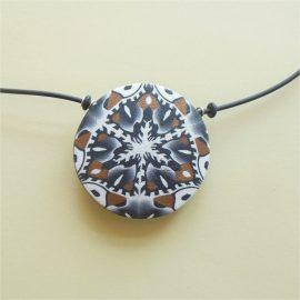 S374 black white and umber kaleidoscope pendant