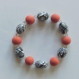 P327 black white and red stretch bracelet
