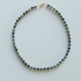 P328 apatite and gold plated bead necklace