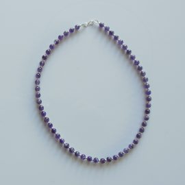 S392 amethyst and sterling silver bead necklace