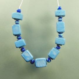 P329 blue cube hollow bead necklace £19