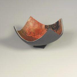 P332 pink black and gold tiny deep trinket bowl. £12