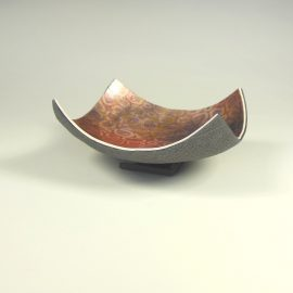 P333 black pink and gold tiny shallow trinket bowl. £12