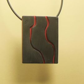 S402 black and red minimal pendant. £21