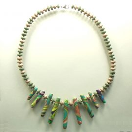 S406 green and gold long bead necklace £26