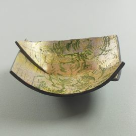 P335 green and gold tiny trinket bowl