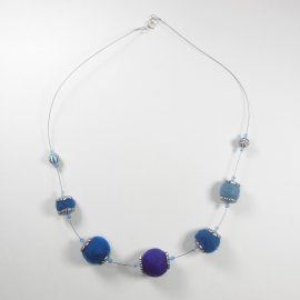 S414 felt and polymer clay bead necklace